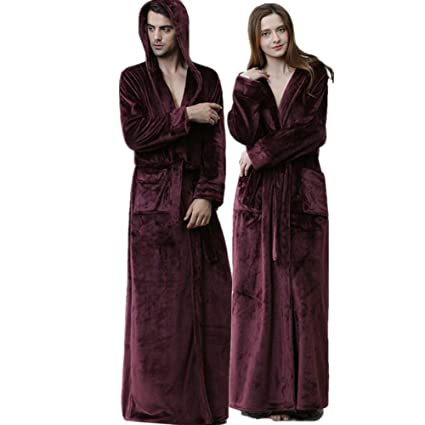 04afc57d79 Women s Men s Full Length Fleece Hooded Robe Plus Size Super Soft ...