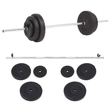 FZYHFA Conjunto de Pesas de Disco de Cemento + Barras de Acero diámetro de los Grandes Disco 30 cm y 30 kg Kit Halteres Negro: Amazon.es: Deportes y aire ...