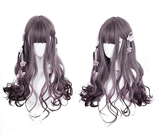 MRealGal Women's Full Purple Long Curly Hair Heat Resistant Harajuku Lolita Wigs Costume for Cosplay Party (Grape Purple Ombre)