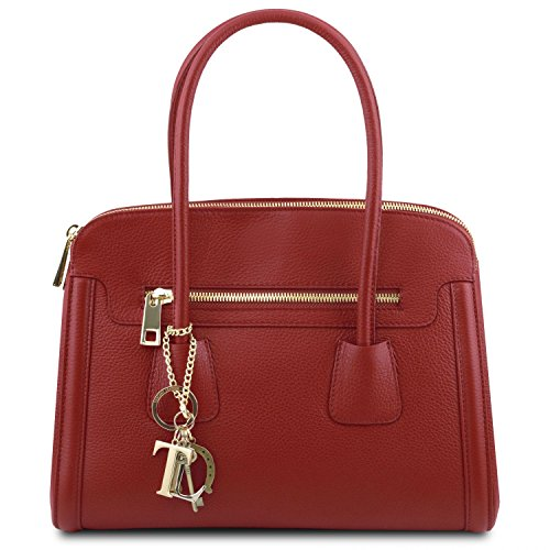 Sac cuir TL Tuscany en souple 2 TL141285 Rouge Noir Leather main à Bag 5ttqwn0