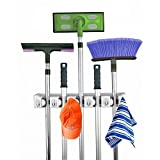 Vshare ® Mop and Broom Holder, 5 position with 6 hooks garage storage Holds up to 11 Tools, storage solutions for broom holders, garage storage systems broom organizer for gara