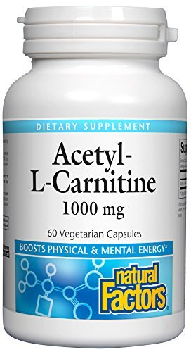 Natural Factors - Acetyl L-Carnitine 1000mg, Promotes Normal & Healthy Brain Function, 60 Vegetarian Capsules