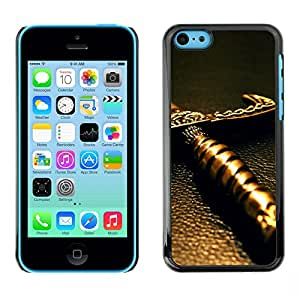 Qstar Arte & diseño plástico duro Fundas Cover Cubre Hard Case Cover para Apple iPhone 5C ( Sword Handle Knight Warrior Fairytale)