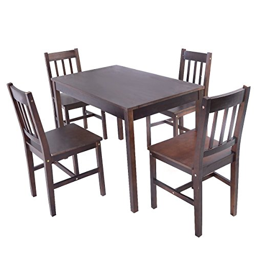 MasterPanel - 5PCS Solid Pine Wood Dining Set Table and 4 Chairs Home Kitchen Furniture Brownn #TP3233