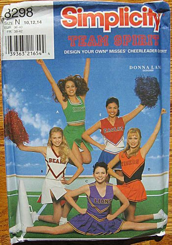 Simplicity 8298 Sewing Pattern Donna Lang Team Spirit Design Your Own Cheerleader Outfit, Sizes 10-12-14