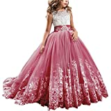 IBTOM CASTLE Flower Girls Vintage Overlay Lace Beaded Rhinestone Bridesmaid Wedding Tulle Dresses Party Maxi High Low Ball Gown Pageant Evening Fancy Dance Tutus Princess Dress Wine Red 6-7 Years
