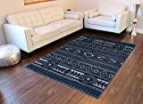 Masada Rugs Multi color Vintage Collection Soft Oriental Area Rug Carpet (5 Feet X 7 Feet, Thunder Blue 55)