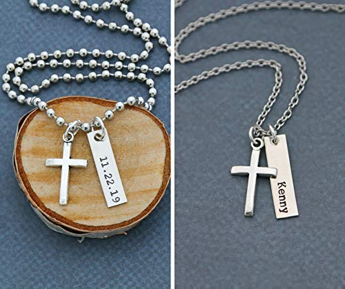 Men's Cross Necklace - DII ABC - Boys Confirmation Baptism Gift - Handstamped Handmade - 1 x 1/4 Inch 25.4 6MM Silver Bar - Customized Chain Length