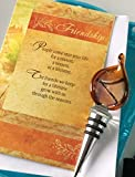 Smiling Wisdom - Glass Leaf Wine Bottle Stopper Friendship Gift Set - Reason Season Lifetime Friend Greeting Card - Unique Gift For Special or Best Friend - Him, Her, Man, Woman