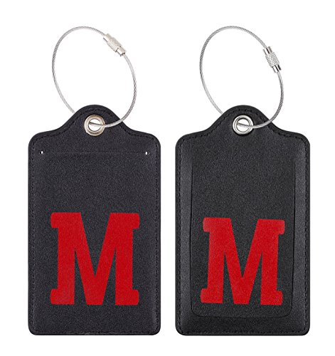 Chelmon Initial Luggage Tag with Full Privacy Cover and Stainless Steel Loop (M)
