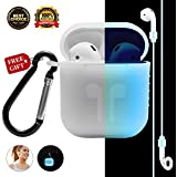 Airpods Case AirPod Accessories Case for Apple Airpods, [Night-glow Blue] Full Body Soft Skin Silicone Shockproof Protector Air Pods Case Cover with Night-glow Earphone Anti-lost Strap and Carabiner