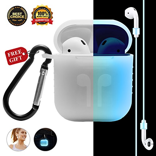 Airpods Case AirPod Accessories Case for Apple Airpods, [Night-glow Blue] Full Body Soft Skin Silicone Shockproof Protector Air Pods Case Cover with Night-glow Earphone Anti-lost Strap and (Pod Flowers)
