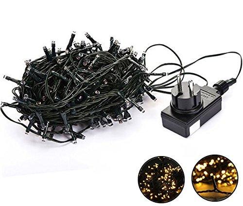 LED Lichterkette, Intsun® 30 Meter, Wasserdicht, 200 LEDs, 24V, tragbar, Außenlichterkette, Weihnachtsbeleuchtung, Weihnachtskette, Weihnachtsleucht, LED-Streifen String, Beleuchtung für Hochzeit, Party, Weihnacht (30M 200LEDs Warmweiss)