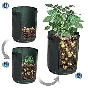 BenefitUSA patata bolsa de cultivo con maceta bolsa para verduras recipiente Tub W con solapa de acceso