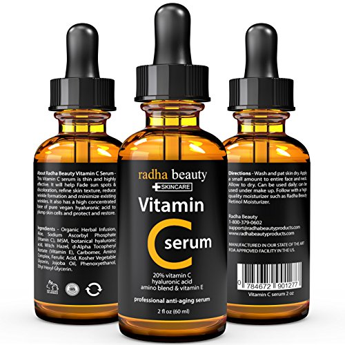 VITAMIN C Serum for Face - Big 2 oz - 20% Organic Vit C  E  Vegan Hyaluronic Acid - THE MOST EFFECTIVE ANTI AGING SERUM TODAY - Proffessional Facial Skin Care Formula - Boost Collagen Plump Skin Repair Sun Damage Fade Sun Spots Age Spots Dark Ci...