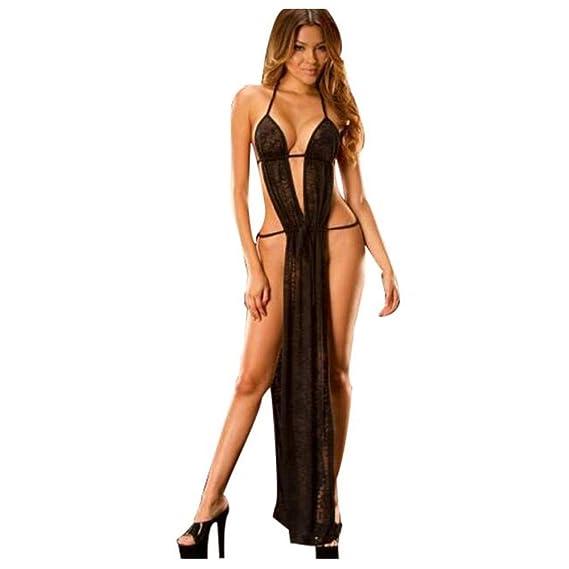 DOGZI Lencería Mujer Erotica,Mujer Sexy Ropa Interior de Encaje Transparente Vestido Babydoll camisón de