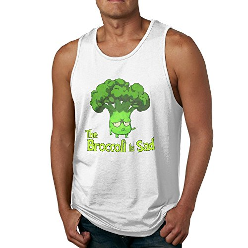 Elop Sad Broccoli Loose Fit Relaxed 100% Cotton Men's Tank Top T-shirt XXL White