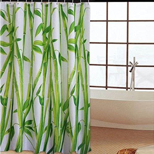 180 x 180cm Bamboo Forest Waterproof Fabric Bathroom Shower Curtain With 12pcs Curtain Hooks (Bamboo Forest Storage Cabinet)