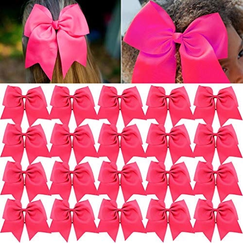 Large Cheer Bows Pink Ponytail Holder Girls Elastic Hair Ties 8 20PCS Hair Accessories for Teens Women Girls Softball Competition Sports Cheerleaders