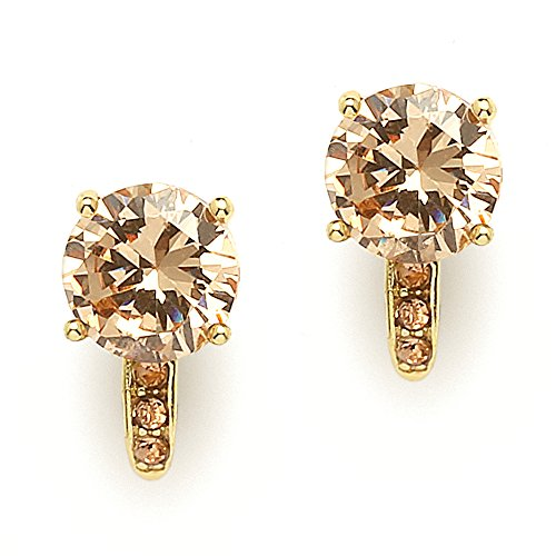 (Mariell 2.0 Ct. Champagne CZ Solitaire Clip-On Stud Earrings (8mm) with 14k Gold Plated Pave Accents)
