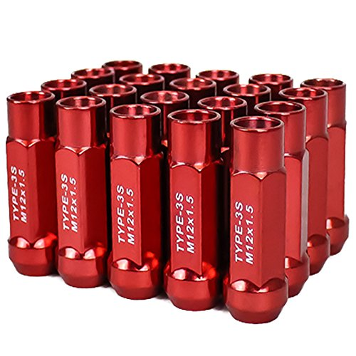 Godspeed Type 3-X RED 12mm x 1.50 Thread Size Cold Forged SCM-435 Steel Black Finish Open End Lug Nut, (Pack of 20)
