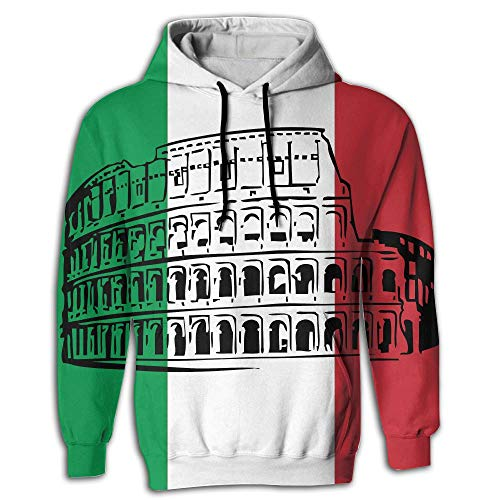 (SHEERY Roman Colosseum Italian Flag Pullover Sweatshirt Full Zip Hoodie Sweatshirt)