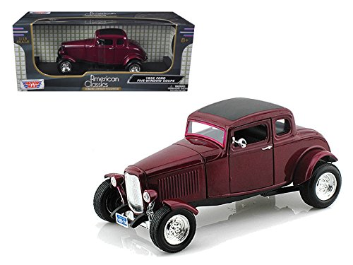 Motormax 73171 1932 Ford Five Window Coupe Burgundy 1/18 Diecast Car Model
