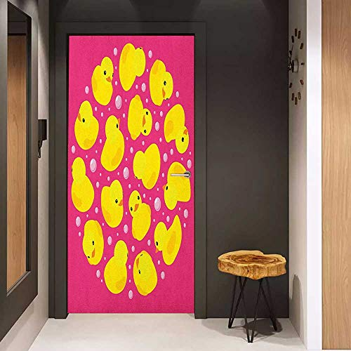 - Onefzc Self-Adhesive Wall Murals Rubber Duck Fun Baby Duckies Circle Artsy Pattern Kids Bath Toys Bubbles Animal Print Sticker Removable Door Decal W35.4 x H78.7 Pink and Yellow