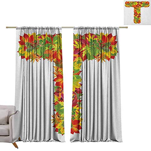 Pocket Thermal Insulated Tie Up Curtains Letter T,Uppercase T Name Alphabet Symbol with Bunch of Shaded Fall Oak Tree Leaves Season, Multicolor W96