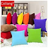 Coliang Throw Pillow Case, Colorful Multi-Color Optional Soft Plain Cushion Solid Pillow Sofa Cushion Office Cushion Pillow Cover 40x40CM(No Insert) - Orange