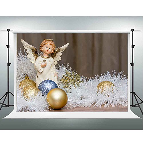 GESEN 7X5ft Warm and Loving Backdrop Winged Cherub Christmas Ball Snowflakes Backdrop for Pictures You Tube Background Video Studio Props SEN430