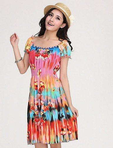 PU&PU Robe Aux femmes Gaine Street Chic,Fleur Bateau Au dessus du genou Coton / Polyester , blue-l , blue-l