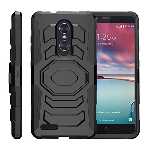 TurtleArmor | Compatible for ZTE ZMax Pro Case | ZTE Blade X Max Case [Octo Guard] Armor Rugged Solid Hybrid Kickstand Impact Holster Belt Clip Sports and Games Design - Black ()