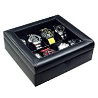 Ikee Design Deluxe Black Faux Leather Watch Display Case For 8 Watches.