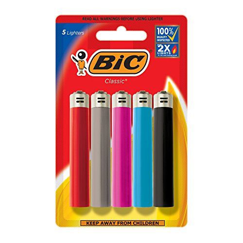 BIC Lighters (Colors May Vary), 5 Pack Disposable Cigarette Lighters