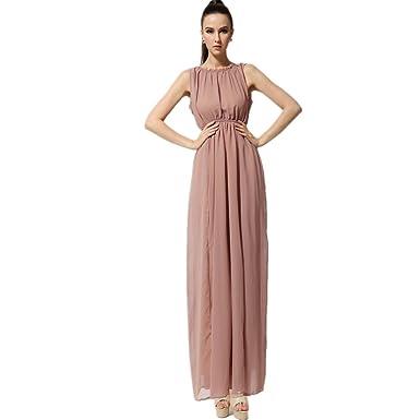 1331125e4cf9c SUOQI Women Sleeveless Elastic Waist High Slit OL Holiday Pearl Chiffon  Dresses (Dark Pink