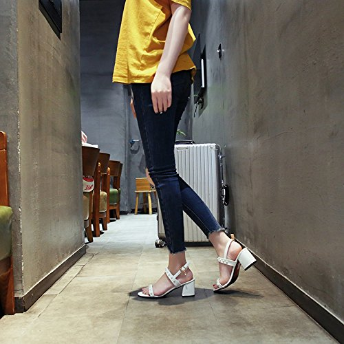 Zapatos Moda YMFIE Verano Minimalista señoras tacón de Los Dedos Damas Alto Sandalias white 55cqRAW