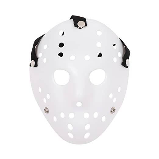 Studry Halloween Costume Horror Hockey Mask Cosplay Props for Masquerade Carnival White&Red One Size