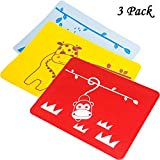 INCHANT Kids Placemats Set - Lovely Animal Design Baby Toddlers Waterproof Non-Slip Silicone Placemat, Children Lunch & Supper Place Mat Reusable Table Mats,Keep Stains Off, BPA-Free ,Easy to Clean and Store - Set of 3