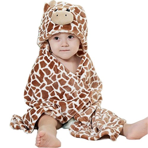 Baby Hooded Bath Towels Animal Bathrobe Fleece Towel Blanket (Brown Giraffe) ()