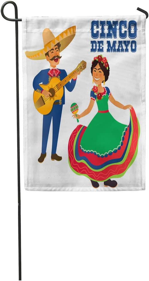 Semtomn Garden Flag Mexico Dancer and Guitar Player at The Cinco De Mayo Home Yard House Decor Barnner Outdoor Stand 12x18 Inches Flag