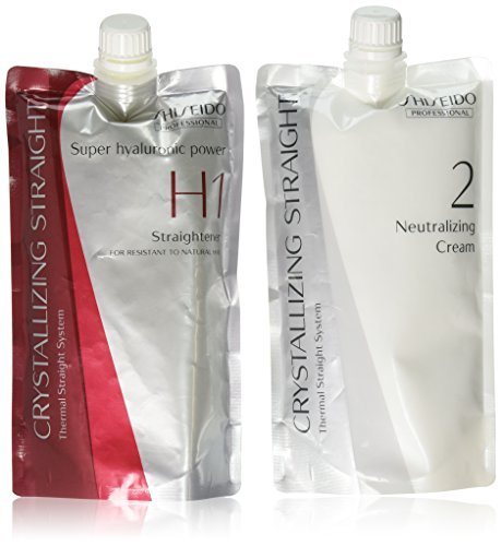 Hair Rebonding Shiseido Professional Crystallizing Hair Straightener (H1) + Neutralizing Emulsion (2) for Resistant to Natural Hair (Best Permanent Hair Straightening Treatment)