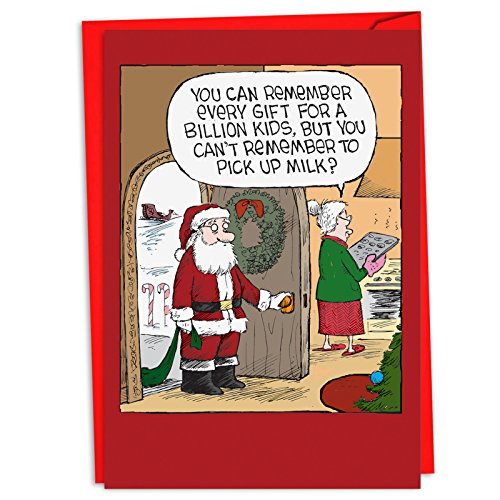 Remember The Milk - 12 Merry Christmas Card Set with Envelopes (4.63 x 6.75 Inch) - Santa and Mrs Claus, Season's Greetings Holiday Card for Husband, Men, Dad - Boxed Notecard Set C4335XSG-B12