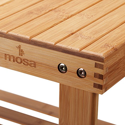 "Mosa Natural Bamboo Entryway Bench (27.6"" X 11.2"" X 17.9"") Hallway Wood Shoe Bench Wooden Shoe Rack for Bedroom"