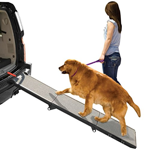 Pet Gear Tri-Fold Ramp 71 inch Extra Wide Pet Ramp Holds 200LBS, Black/Gray, not carpeted (Ramp Ramp Dog)