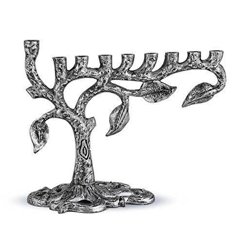 Zion Judaica Artistic Menorah Tree of Life (Antique Silver) by Zion Judaica Ltd