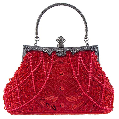Bagood Women's Vintage Style Beaded And Sequined Evening Bag Wedding Party Handbag Clutch Purse ()