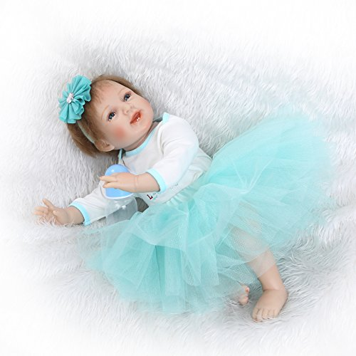 Funny House Handmade Un-washable 22''55cm Lifelike Reborn Soft Silicone Vinyl Real Touch Doll Reborn Dolls Newborn Baby Blue Dress Free Magnet Pacifier Alive Xmas Gifts