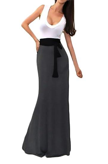Mujer Vestidos Largos Casual Clásico Especial Verano Sin Mangas V Cuello Vestido Con Cinturón Patchwork Slim Fit Color Sólido: Amazon.es: Ropa y accesorios