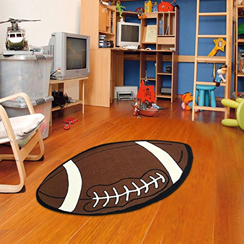 Small Soccer Ball Rug - Furnish my Place 715 Football Small Shape 2x4 Kids Sports Area Rug, 2'6